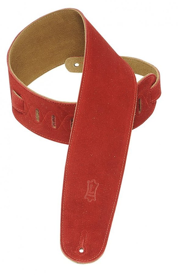 View larger image of Levy's MS4 3 1/2 Suede Guitar Strap for Bass - Red