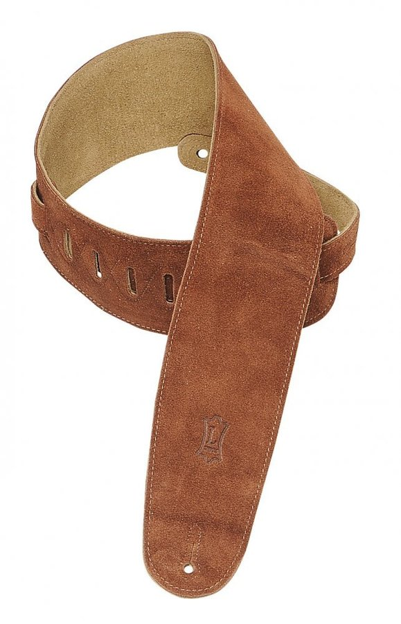 View larger image of Levy's MS4 3 1/2 Suede Guitar Strap for Bass - Rust
