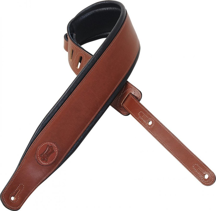 View larger image of Levy's MSS1 3 Signature Series Veg-Tan Leather Guitar Strap with Foam Padding - Brown