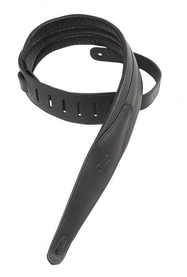 View larger image of Levy's MSS100 2 1/2 Carving Leather Guitar Strap with Foam Padding - Black