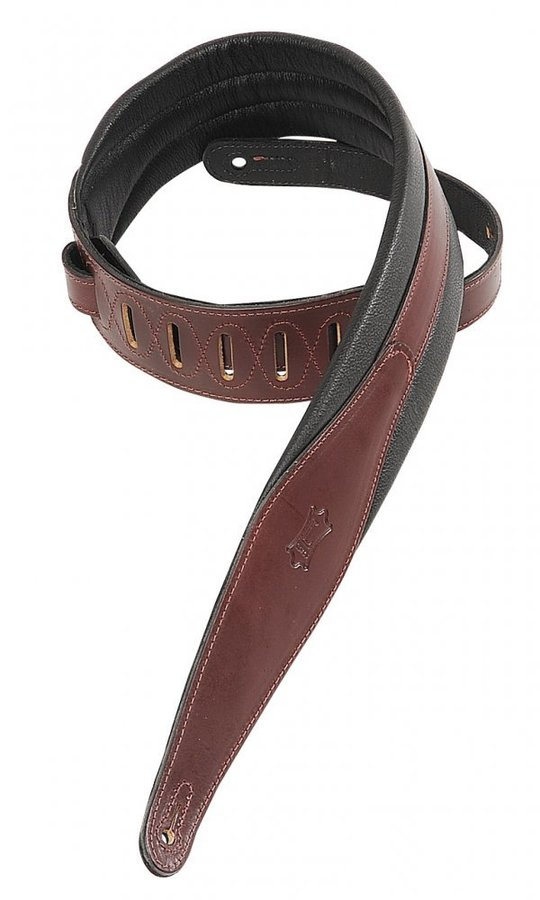 View larger image of Levy's MSS100 2 1/2 Carving Leather Guitar Strap with Foam Padding - Burgundy