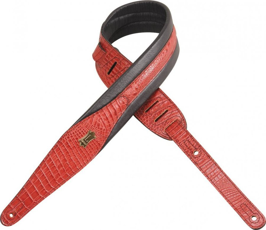View larger image of Levy's MSS100CR 2 1/2 Imitation Crocodile Leather Guitar Strap with Foam Padding - Red