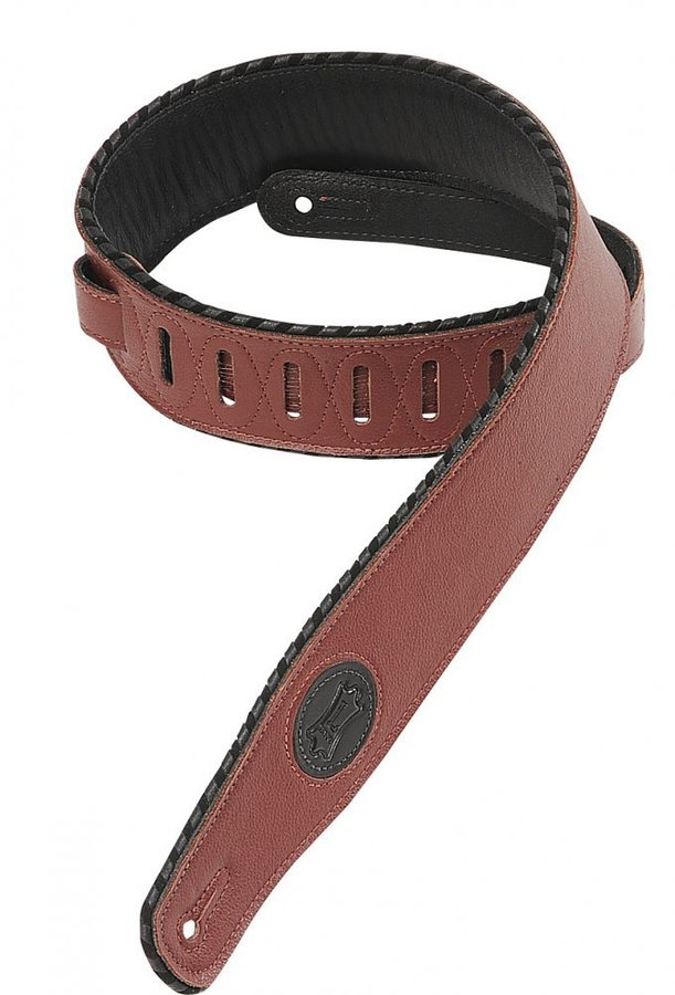View larger image of Levy's MSS13 2 1/2 Signature Series Garment Leather Guitar Strap with Foam Padding - Burgundy
