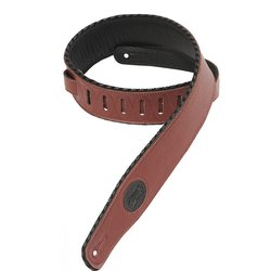Levy's MSS13 2 1/2 Signature Series Garment Leather Guitar Strap with Foam Padding - Burgundy