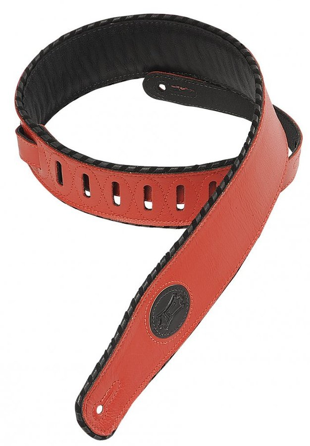 View larger image of Levy's MSS13 2 1/2 Signature Series Garment Leather Guitar Strap with Foam Padding - Red