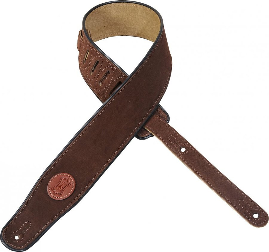 View larger image of Levy's MSS3 2 1/2 Signature Series Suede Guitar Strap with Black Decorative Piping - Brown