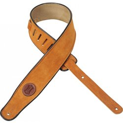 Levy's MSS3 2 1/2 Signature Series Suede Guitar Strap with Black Decorative Piping - Honey