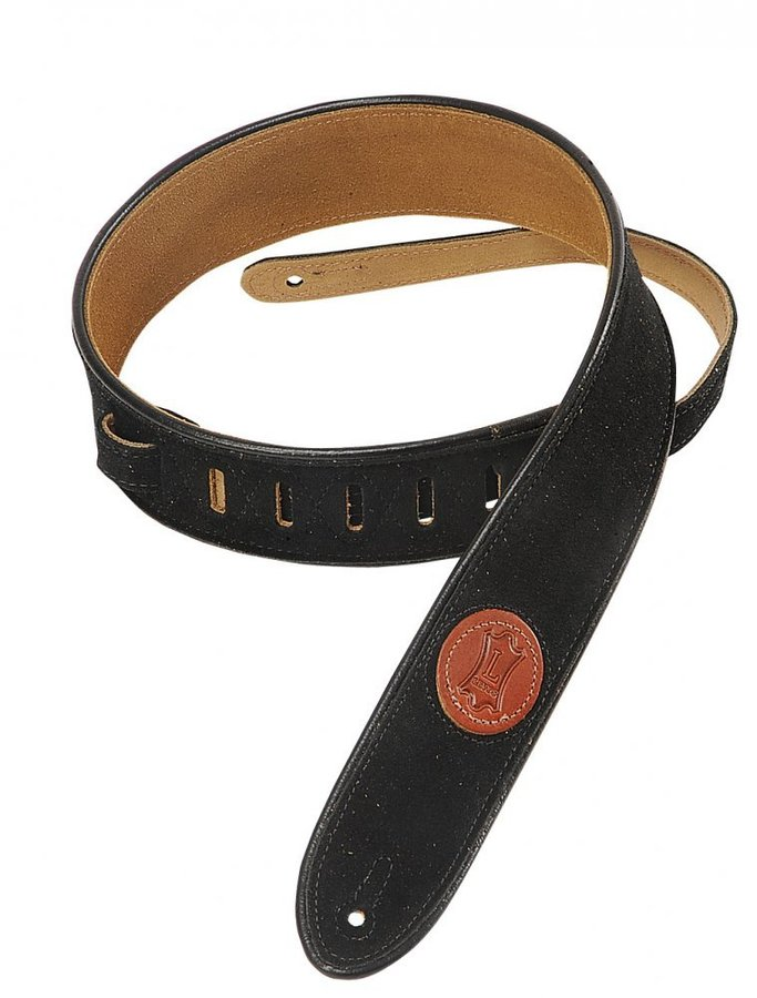 View larger image of Levy's MSS3-2 2 Signature Series Suede Guitar Strap with Black Decorative Piping - Black