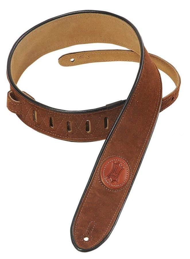 View larger image of Levy's MSS3-2 2 Signature Series Suede Guitar Strap with Black Decorative Piping - Brown