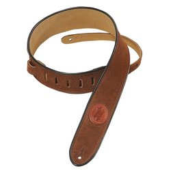 Levy's MSS3-2 2 Signature Series Suede Guitar Strap with Black Decorative Piping - Brown
