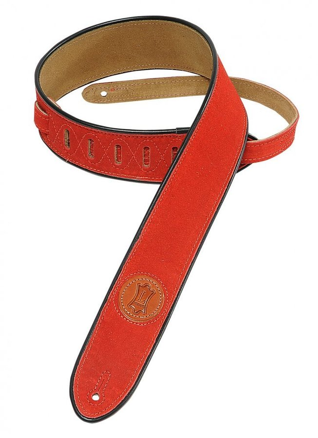 View larger image of Levy's MSS3-2 2 Signature Series Suede Guitar Strap with Black Decorative Piping - Red