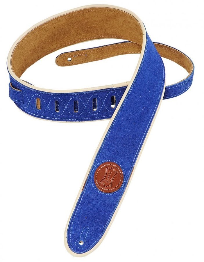 View larger image of Levy's MSS3-2CP 2 Signature Series Suede Guitar Strap with Cream Decorative Piping - Royal Blue