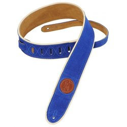 Levy's MSS3-2CP 2 Signature Series Suede Guitar Strap with Cream Decorative Piping - Royal Blue