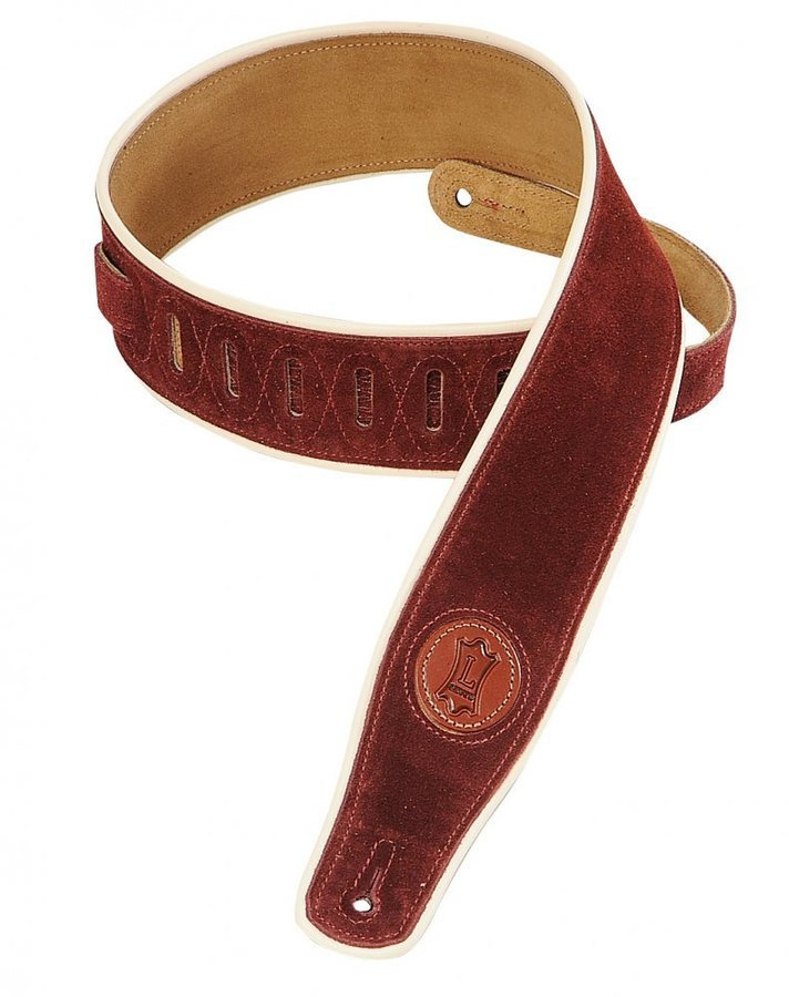 View larger image of Levy's MSS3CP 2 1/2 Signature Series Suede Guitar Strap with Cream Decorative Piping - Burgundy