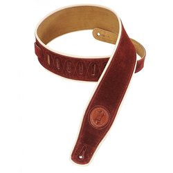 Levy's MSS3CP 2 1/2 Signature Series Suede Guitar Strap with Cream Decorative Piping - Burgundy