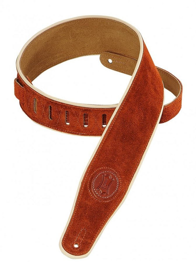 View larger image of Levy's MSS3CP 2 1/2 Signature Series Suede Guitar Strap with Cream Decorative Piping - Copper