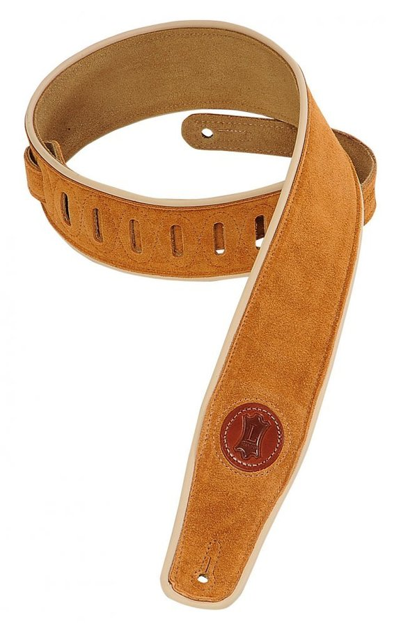 View larger image of Levy's MSS3CP 2 1/2 Signature Series Suede Guitar Strap with Cream Decorative Piping - Honey