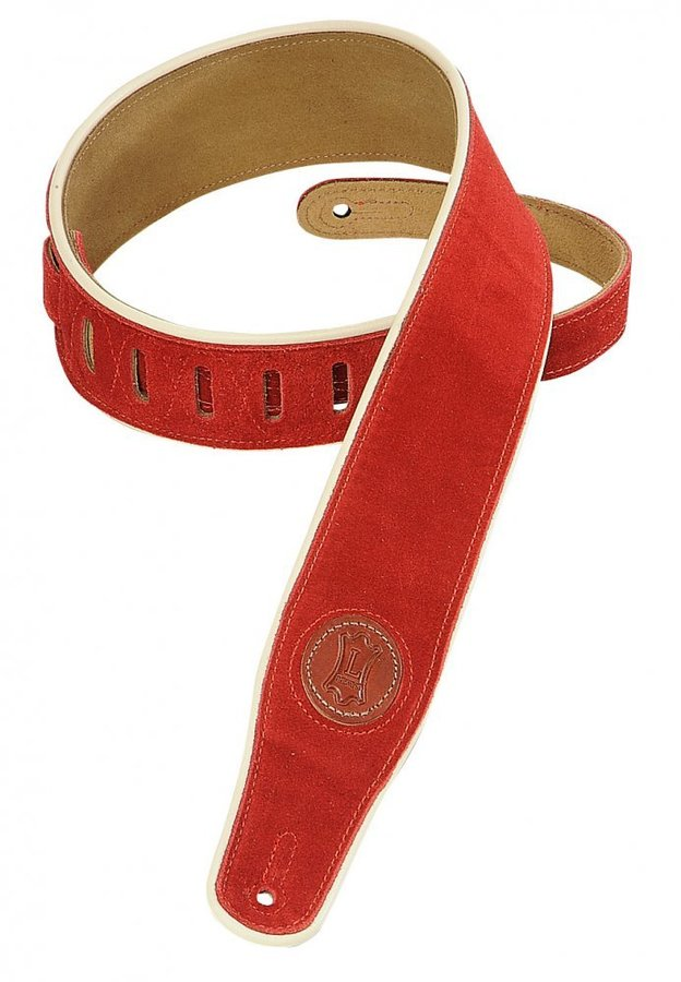 View larger image of Levy's MSS3CP 2 1/2 Signature Series Suede Guitar Strap with Cream Decorative Piping - Red