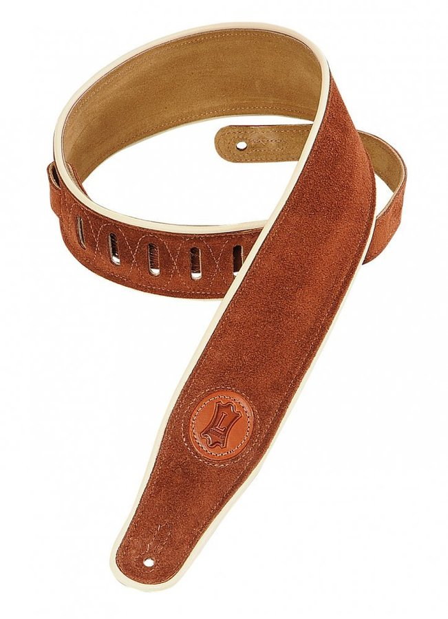 View larger image of Levy's MSS3CP 2 1/2 Signature Series Suede Guitar Strap with Cream Decorative Piping - Rust