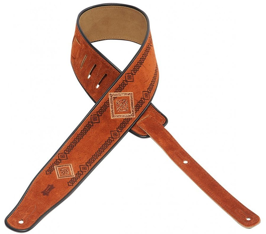 View larger image of Levy's MSS3EP-003 2 1/2 Suede Guitar Strap with Embroidered and Printed Design