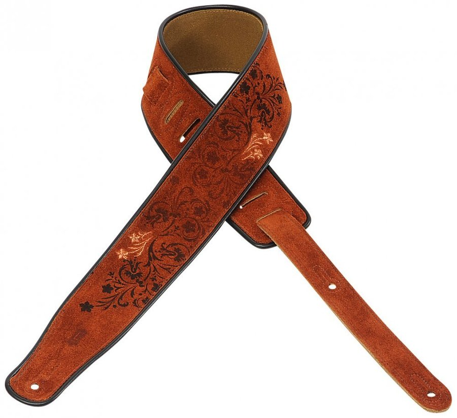 View larger image of Levy's MSS3EP-005 2 1/2 Suede Guitar Strap with Embroidered and Printed Design