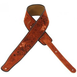 Levy's MSS3EP-005 2 1/2 Suede Guitar Strap with Embroidered and Printed Design