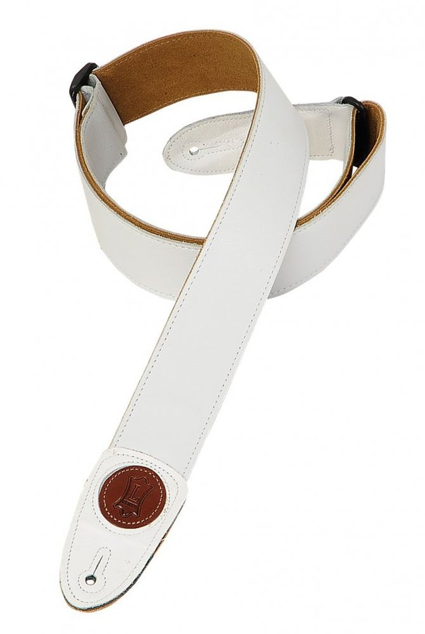View larger image of Levy's MSS7G 2 Signature Series Garment Leather Guitar Strap - White