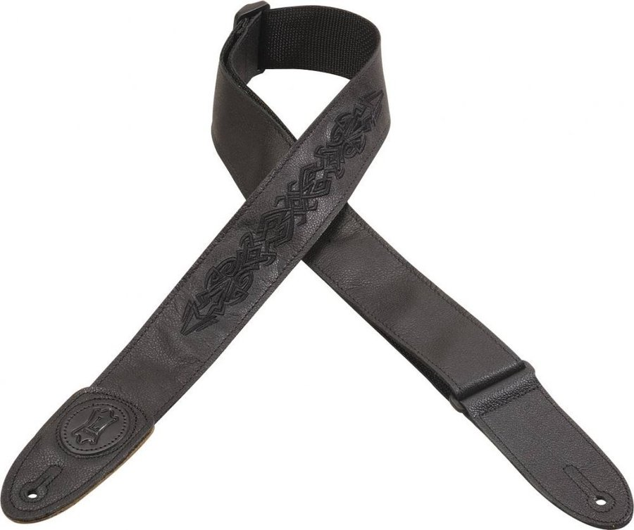 View larger image of Levy's MSS7GPE-04 2 Black Garment Leather Guitar Strap with Black Embroidery Design