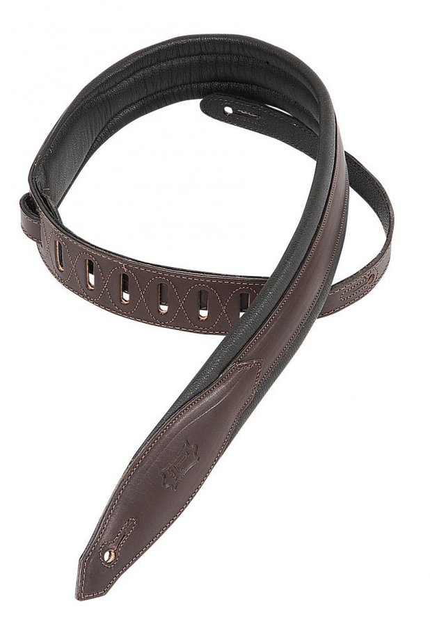 View larger image of Levy's MSS80 2 Carving Leather Guitar Strap with Foam Padding - Dark Brown