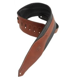 Levy's MSS90 3 1/2 Carving Leather Bass Strap with Foam Padding - Brown
