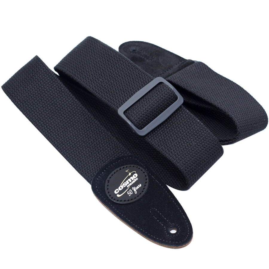 View larger image of Levy's MSSC8 2 Cotton Guitar Strap - Black, Suede Ends, Cosmo Music 50th Anniversary