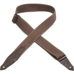 Levy's MSSC80 2 Heavy Weight Cotton Guitar Strap with Contrasting Woven Border - Brown