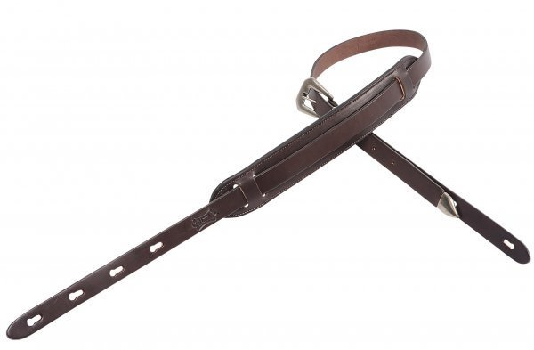 View larger image of Levy's PM23 1 Carving Leather Guitar Strap with 2 Movable Foam Pad - Dark Brown