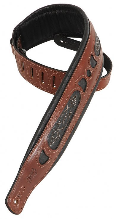 View larger image of Levy's PM31 3 Carving Leather Guitar Strap with Contrasting Garment Leather Windows - Walnut