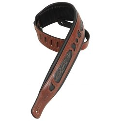 Levy's PM31 3 Carving Leather Guitar Strap with Contrasting Garment Leather Windows - Walnut