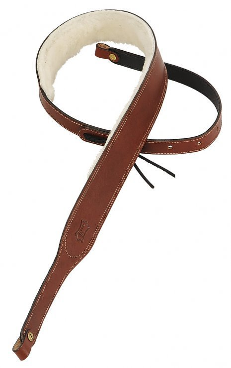 View larger image of Levy's PMB42 2 Carving Leather Banjo Strap with Sheepskin - Brown