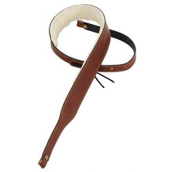 Levy's PMB42 2 Carving Leather Banjo Strap with Sheepskin - Brown