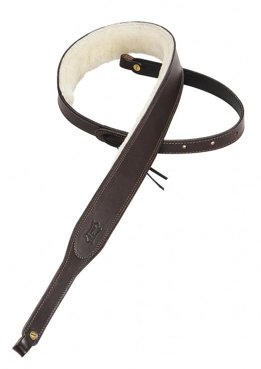View larger image of Levy's PMB42 2 Carving Leather Banjo Strap with Sheepskin - Dark Brown