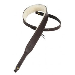 Levy's PMB42 2 Carving Leather Banjo Strap with Sheepskin - Dark Brown