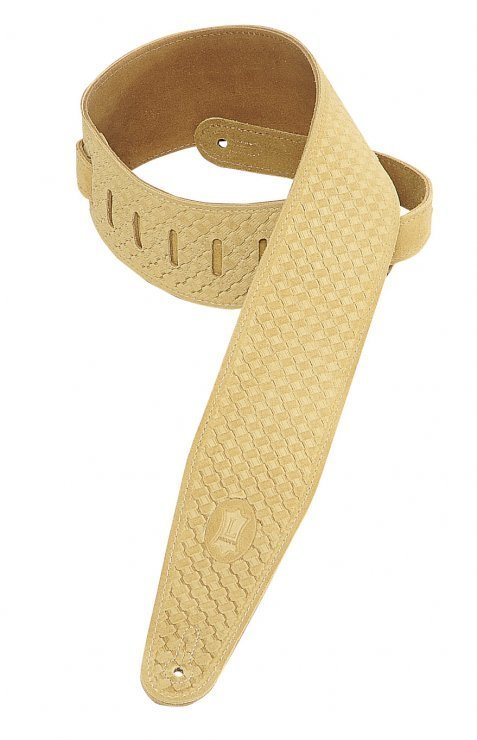 View larger image of Levy's PMS44T02 3 Suede Leather Guitar Strap Tooled with Basket-Weave Pattern - Tan