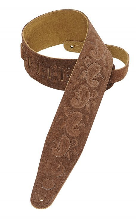 View larger image of Levy's PMS44T03 3 Suede Leather Guitar Strap Tooled with Paisley Pattern - Brown