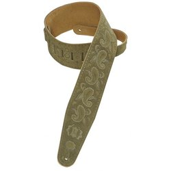 Levy's PMS44T03 3 Suede Leather Guitar Strap Tooled with Paisley Pattern - Green