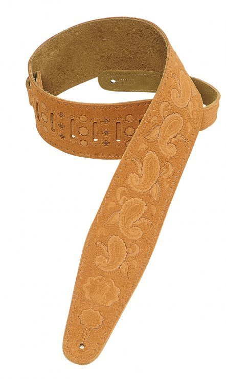 View larger image of Levy's PMS44T03 3 Suede Leather Guitar Strap Tooled with Paisley Pattern - Honey