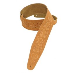 Levy's PMS44T03 3 Suede Leather Guitar Strap Tooled with Paisley Pattern - Honey