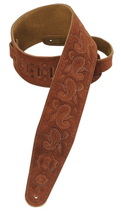 View larger image of Levy's PMS44T03 3 Suede Leather Guitar Strap Tooled with Paisley Pattern - Rust