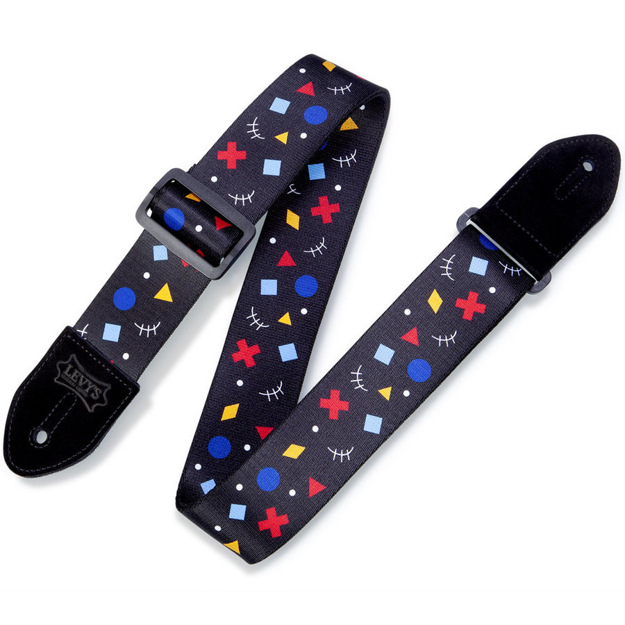 View larger image of Levy's Print Series Guitar Strap - Rad Black/Red, 2