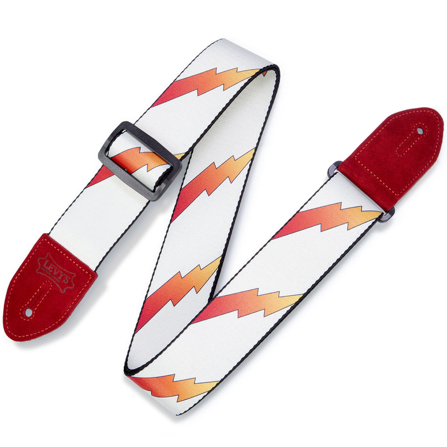 View larger image of Levy's Print Series Rainbolt Guitar Strap - Red/White, 2