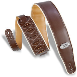 Levy's Rebel Series Reversible Vinyl Guitar Strap - Brown/Mustard with Cream Piping, 2 3/4