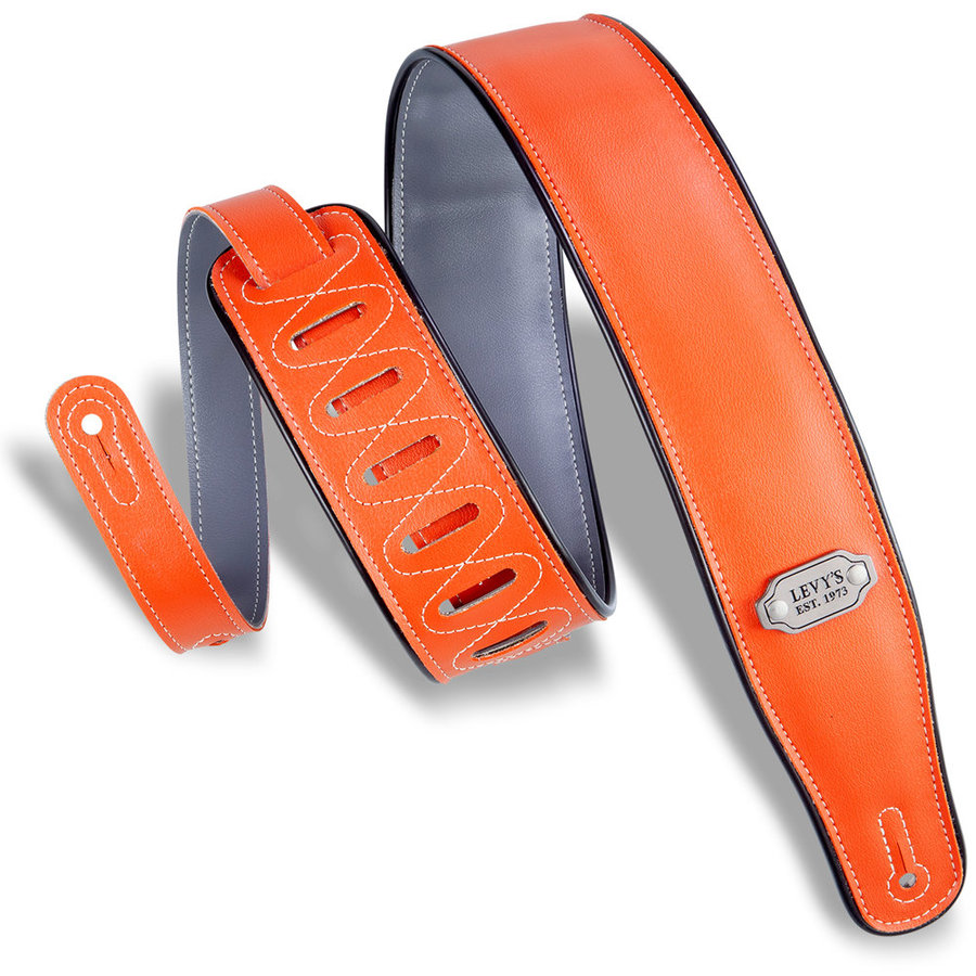View larger image of Levy's Rebel Series Reversible Vinyl Guitar Strap - Orange/Grey with Black Piping, 2 3/4