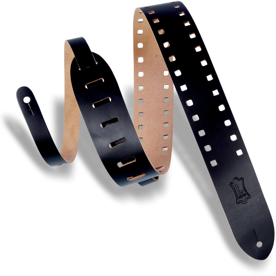 View larger image of Levy's Square Punch Out Leather Guitar Strap - Black, 2